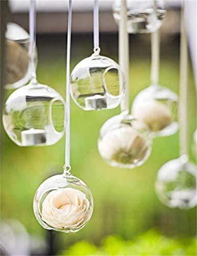 Ecosides Conjunto de 12 8 cm Candelabro Colgante De Vidrio, Colgar portavelas de Cristal terrario portavelas candelabro,Decoración De Velas para Mesas De Boda/Fiesta, Decoraciones De San Valentín