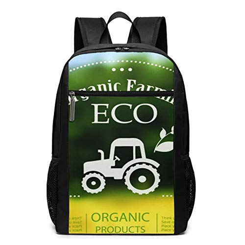 School Backpack Label Organic Farming Tractor Think, College Book Bag Business Travel Daypack Casual Rucksack for Men Women Teenagers Girl Boy
