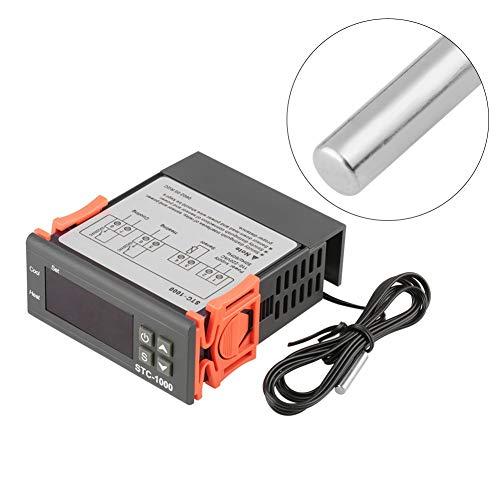 ARCELI Controlador de Temperatura Digital AC 110V-220V Fahrenheit/Centígrados Termostato/Modo de refrigeración con Sensor 2 relés