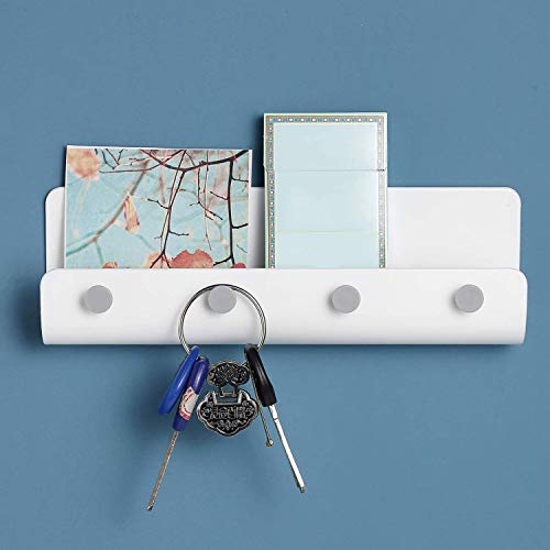 Pimuza Key Hook Rack Holder for Card,Letter,Photo,Dog Leash,Remote Control,Wall Mount Contemporary Personalized Plastic White Tray Shelf Organizer for Home Garage Door,House Decor,Living Room,Entryway