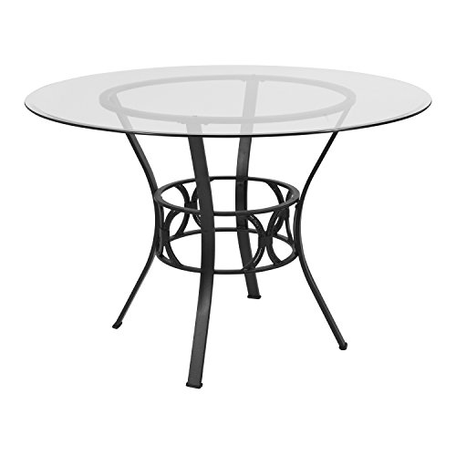 Flash Furniture Carlisle 45'' Round Glass Dining Table with Black Metal Frame