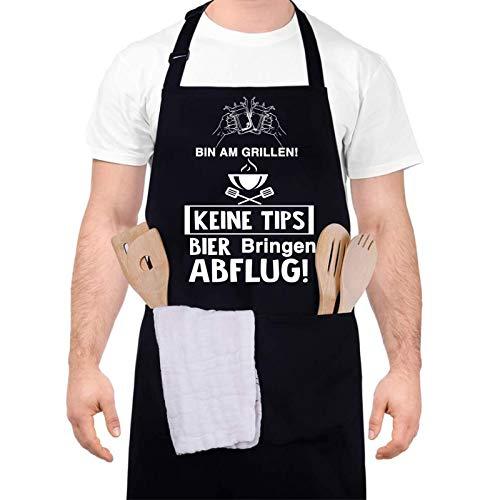 upain Grillschürze für Männer Lustig Schürze Kochschürze Baumwoll Küchenschürze Verstellbarem Nackenband Zwei Fronttaschen für Herren Papa Opa-Bin am Grillen! Keine Tipps! Bier bringen! ABFLUG