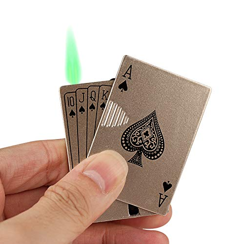 Jet Torch Lighter, Windproof Lighter Metal Playing Cards Cool Design for Gift, Cigar, Cigarette and Candle, Exquisite Packaging, with UV Currency Detector LED Light, Butane Fuel Refillable.