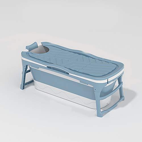 Erwachsene Badewanne, Tragbare Badewanne, Dampfender Eimer, Faltbadewanne, Erwachsene Mobile Badewanne, Kunststoff-Falten-Dicke Badewanne, Haushaltsauna, 142X60x58cm,Blau