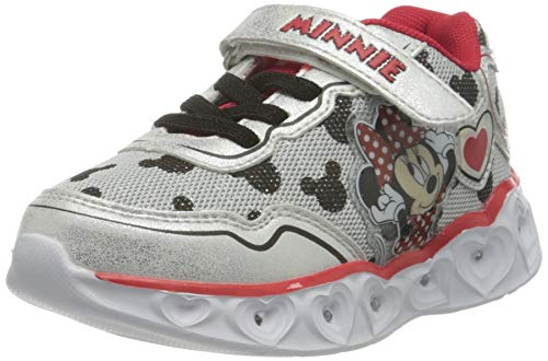 CERDÁ LIFES LITTLE MOMENTS Cerdá-Zapatillas LED Minnie Mouse de Color Rojo, Niñas, Plateado, 25 EU