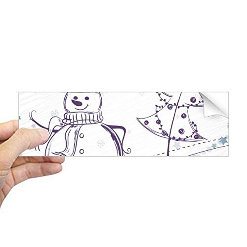 DIYthinker Kerstmis Snowman Sneeuwvlok Boom Schets Rechthoek Bumper Sticker Notebook Venster Sticker