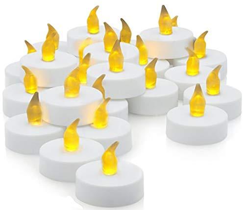 Ideal Products 30 Velas LED con Efecto Parpadeante de romántica luz Amarilla. Nunca se apagan y no Hacen Humo. Especiales para Decoración, Fiestas y Celebraciones: Navidad, Halloween o San Valentín.