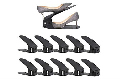 Deposito scarpiera Organizzatore di Slot per Scarpe, Supporto per scarpiera a Due Piani, salvaspazio per impilatore di Scarpe Regolabile Nero da 10 Pezzi
