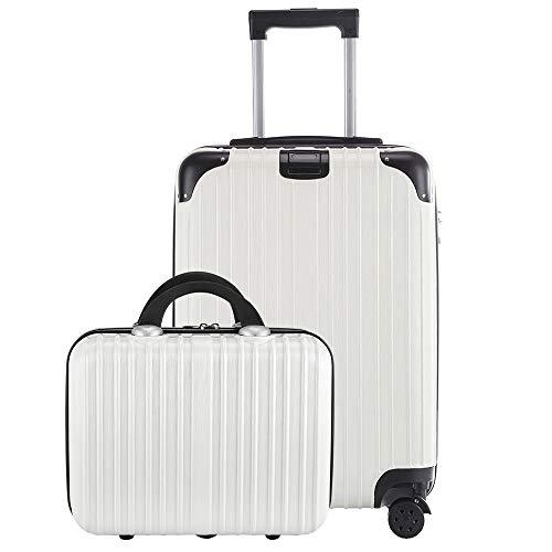 レーズ(Reezu) スーツケース 親子セット 化粧ケース キャリーケース 機内持込 ファスナー キャリーバッグ 超軽量 ジッパー 人気 ミニトランク TSAローク搭載 旅行出張 1年保証 ホワイト White Mサイズ 約66L