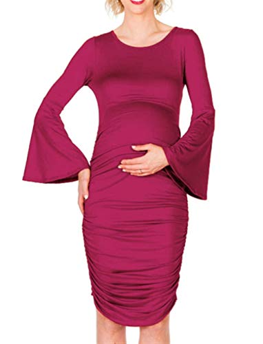 Vrouwen met capuchon Zwangere Horn met lange mouwen Loose Cover The Belly Piece Rok Casual Dress Siamese Block Pull-up (Color : Jujube red, Size : XXL)