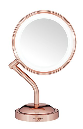 Conair Reflections Double-Sided LED Lighted Vanity Makeup Mirror, 1x/5x Magnification, Rose Gold