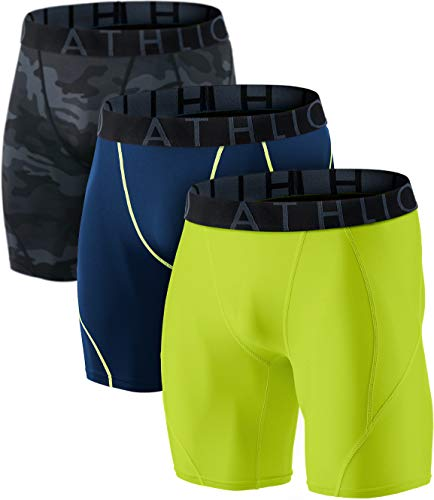 ATHLIO 1 oder 3 Pack Herren Athletic Cool Dry Kompressions-Shorts Sport Performance Active Running Tights, Jungen Damen Mädchen Herren, 3er-Pack (BP06) - Camoblack/ Navy/ Neon, Small