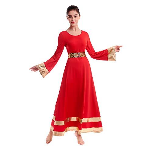 Praise Dance Dresses for Women Gold Metallic Liturgical Dancewear for Women Worship Dresses for Women Dance Lyrical Dresses Chruch Robe with Sequins Shiny Elastic Belt Waistband Red X-Large