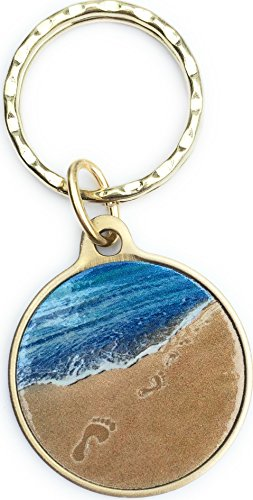 Footprints in The Sand Color Bronze Spiritual Keychain It was Then That I Carried You Foot Prints Gift