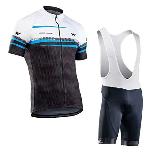 QWA Maillot Ciclismo Corto de Verano para Hombre, Jersey Bicicleta MTB Verano Maillot MTB + Culotte Pantalones Cortos Bodies (Color : Black 3, Size : E(XL))