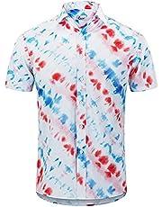 XUEbing Hawaiian Shirts voor Mannen Zomer Button Up Strand Korte Mouw Polyester Shirt Mode Casual Bloem Shirt T-Shirt