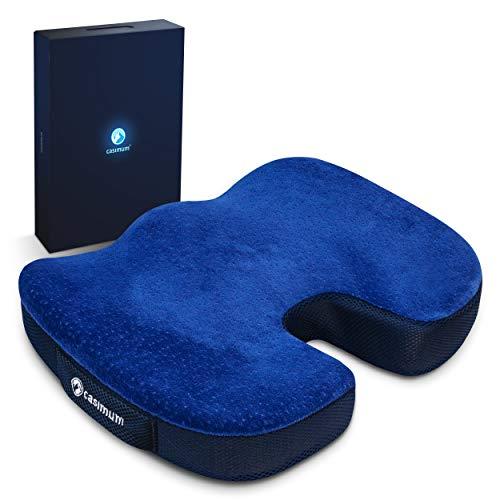 casimum Orthopädisches Sitzkissen bei Ischias, Dekubitus und Rückenschmerzen - Sitzpolster zur Druckentlastung für Bürostuhl, Steißbeinkissen aus Schaumstoff als Sitzhilfe für PKW, 45x33 cm