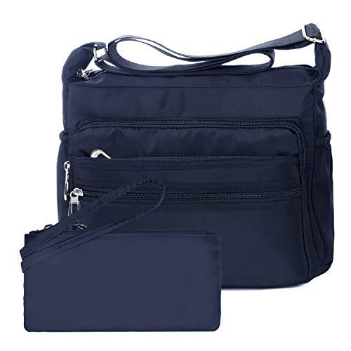 NOTAG Bolsos de Mujer, Impermeable Nylon Bolso de Hombro Multi Bolsillo Bolso Cruzado Messenger Bag con Billetera RFID (L, Azul)