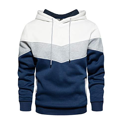 Yowablo Herren-Kapuzen-Sweatshirt mit Kapuze, Pullover, Kleidung, Trainingsanzug, langärmlig, Winter, lässig, Oberteil, Bluse XX-Large / XXX-Large 1 Weiß