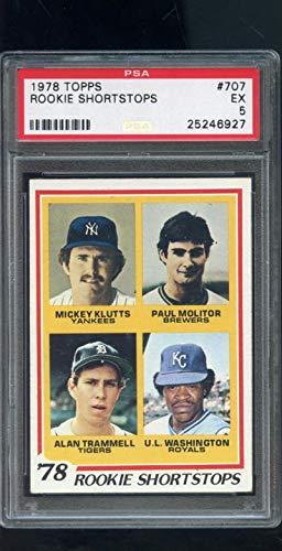 Mickey Klutts; Paul Molitor; Alan Trammell; U.L. Washington Graded PSA 5 EX (Baseball Card) 1978 Topps - [Base] #707