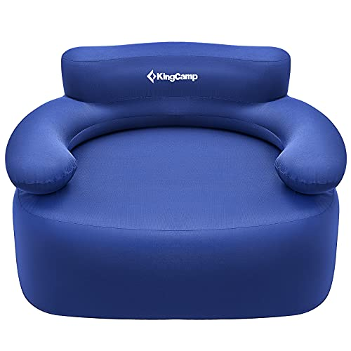 KingCamp Camping Large Inflatable Sofa Chair with Foot Pump Comfortable Durable 108 x 78 x 70 cm Blow Up Camp Seat for Outdoor and Indoor