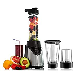 Sensio Home Personal Blender Smoothie Maker – Electric Juicer Grinder for Fruit, Vegetables, Protein Shakes – BPA Free 600ml Portable Sports Bottle, Grinder, Blending Jar – 500W