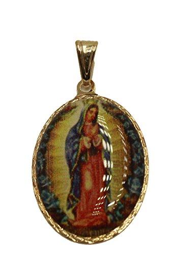 Diamantados de Florida Virgen de Guadalupe Medalla Ovalada - Nuestra Señora de Guadalupe Colgante Medalla chapada en Oro de 18 K con Cadena de 50,8 cm