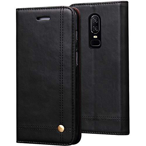 REAL-EAGLE OnePlus 6 hülle, Stand Hülle Etui with Karte Halterung Leder Wallet Klapphülle Flip Book Hülle PU Cover für OnePlus 6 2018 Smartphone. (1+6 Black)