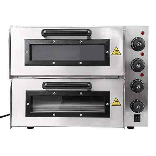 Yonntech Pizzaofen elektrisch 3000 Watt Edelstahl mit 2 Kammern Steinbackofen mit Schamottstein Pizza-Backofen getrennt regulierbare Hitze