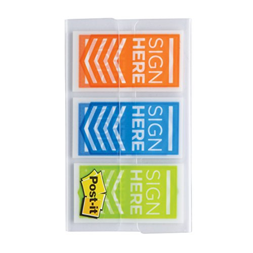"""Post-it Message Flags,""""Sign Here"""", Stick Securely and Remove Cleanly Without Damaging Documents, Orange, Blue, Green.94 in. Wide, 60 Flags/Pack, (682-SH-OBL) Photo #2"""