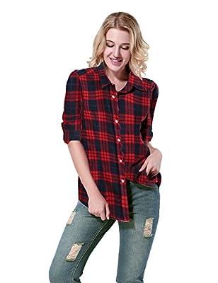 Yidarton Women's Long Sleeve Casual Loose Plaid Shirt Boyfriend Pockets Button Down Shirts