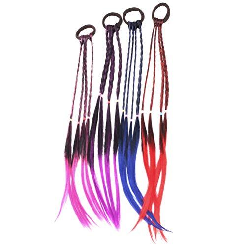 4 unids Peluca de trenza Elástica Lazos para el pelo Anillo de sostenedor de cola de caballo Coletas Trenzas Extensiones de cabello para niñas niños (Púrpura + Azul + Rosa Roja + Roja)