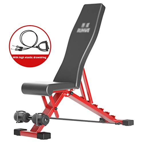 YUNGE Adjustable Weight Bench Home Training Gym Weight Lifting and Sit Up AB Bench Flat Incline Decline - Folded Utility Workout Benchs, Black and Red, Weight Bench with Drawstring