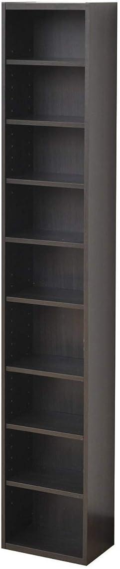 海外で懇願するいいね山善 本棚 幅25.5×奥行17×高さ150cm 9段 スリム 棚板高さ調節可能 大容量 組立品 ダークブラウン CCDCR-2615(DBR)