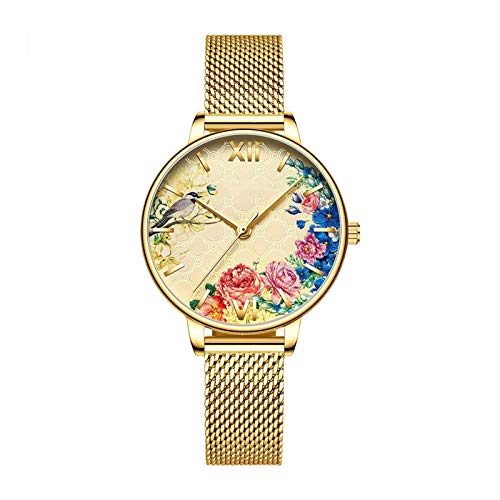 HRWVOR Relojes para Mujer, Mujer Moda Reloj de Pulsera de Cuarzo con Banda y patrón de Acero Inoxidable, Relojes Elegantes para Mujer Regalos de Reloj de Pulsera de Negocios (Color : Gold)