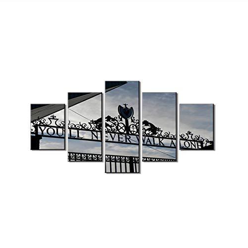 Suuyar Liverpool FC Club Store Bilder Wandkunst Leinwand Sie Werden nie alleine gehen Gemälde Schwarz-Weiß-Raum Wohnkultur-40x60 40x80 40x100cm Kein Rahmen