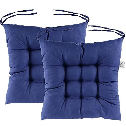 Juego de 2 cojines para silla de comedor, con correas para interiores y exteriores, jardín, oficina, sala de estar, 35 x 35 cm, color azul marino