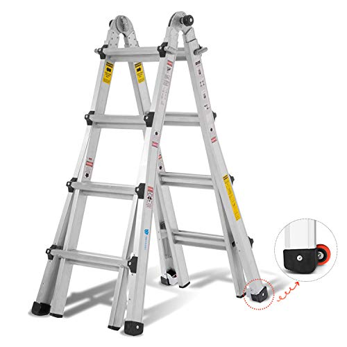 ORIENTOOLS Aluminum Extension Ladder with 300 lb Duty Rating (Load Capacity Type IA), Model 17-Foot...