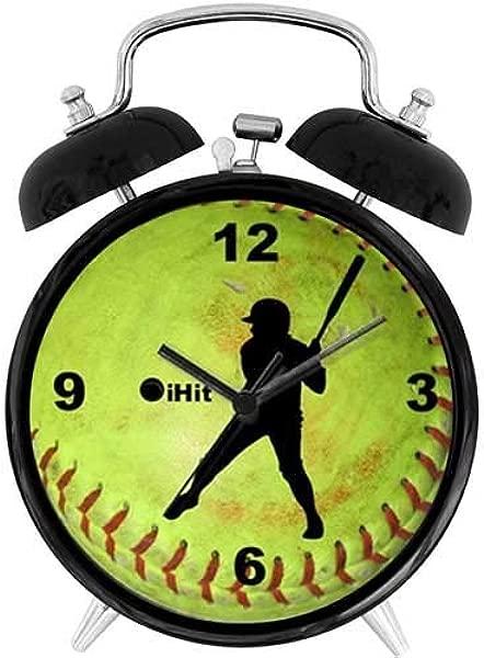 47BuyZHJX 独特的复古风格装饰 Fastpitch 垒球 Ihit 4 双铃闹钟,带小夜灯电池供电的大声闹钟,适用于家庭办公室床头柜上的睡眠者
