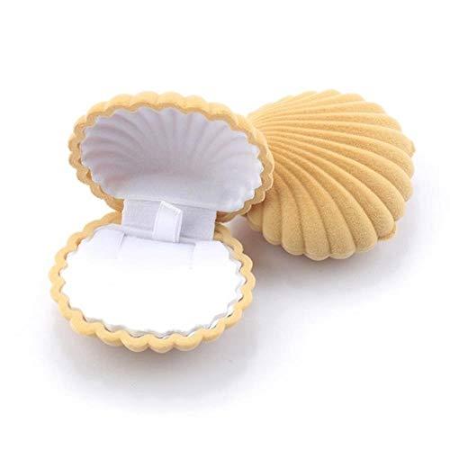 DGJEL 1 Stück Schöne Shell Form Samt Schmuckschatulle Hochzeit Verlobungsring Box für Ohrringe...