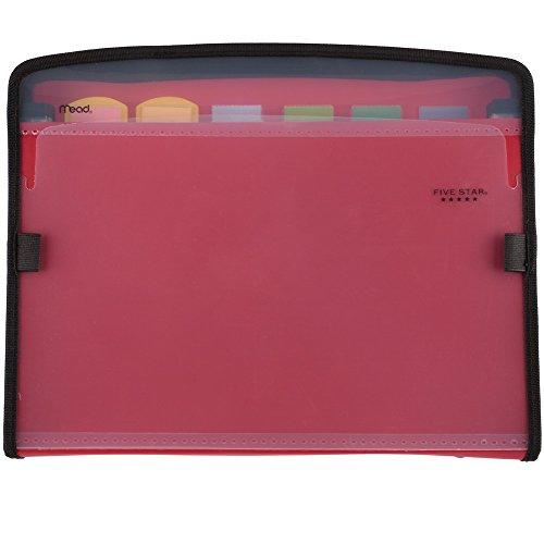 Five Star Expanding File, 7-Pocket Expandable Filing Folder, Zipper Closure, Customizable, Tabbed, Tabs, Red (72705)