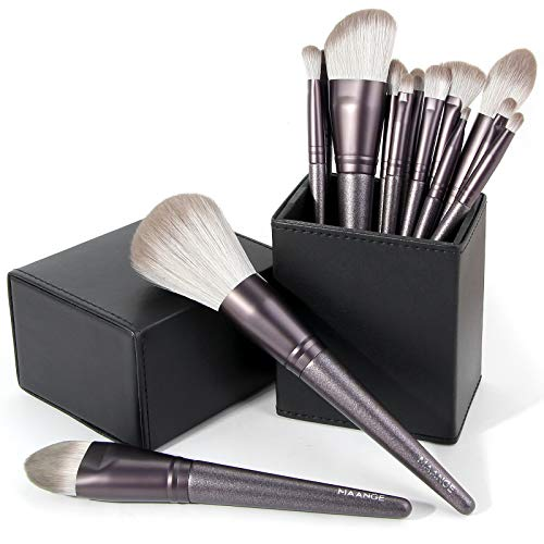 MAANGE Makeup Brushes 14 Pcs Professional Makeup Brush Set with Holder Foundation Powder Eyebrow Concealer Kabuki Blush Make up Brushes with Case Set Black