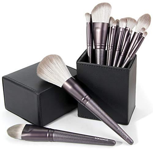 Makeup Brushes, 14 Pcs Professional Makeup Brush Set with Holder, Foundation Powder Eyebrow Concealer Kabuki Blush Make up Brushes with Case Set (Black)