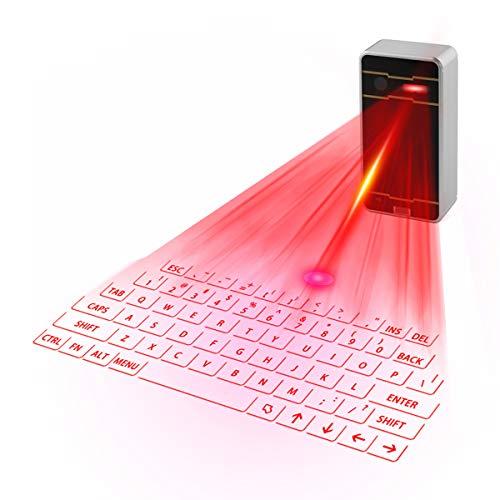Zeerkeers Mini teclado láser virtual Bluetooth inalámbrico proyector mini teclado portátil para ordenador, teléfono, Pad portátil (negro)