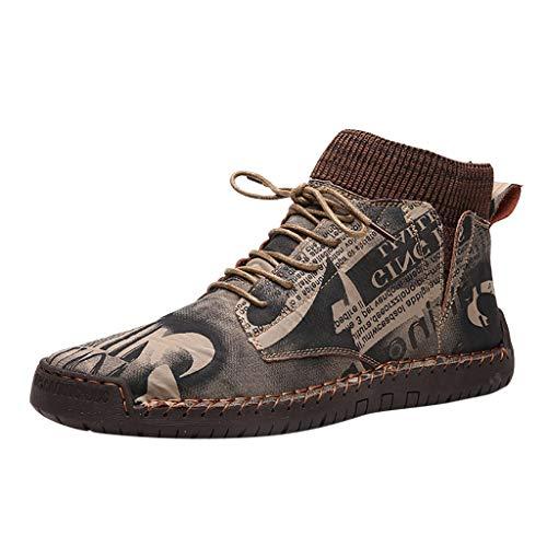 WUSIKY Stiefel Herren Winter Geschenk für Männer Retro Kampfstiefel Freizeitschuhe Atmungsaktive Socken Lokomotive Werkzeugschuh (Braun, 43 EU)