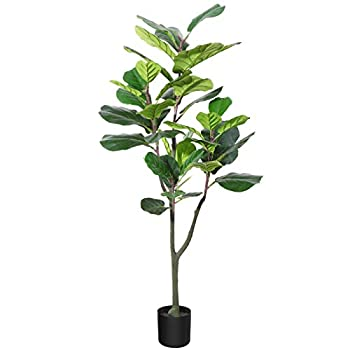 CROSOFMI Artificial Fiddle Leaf Fig Tree 47Inch Fake Ficus Lyrata Plant with 42 Leaves Faux Plants in Pot for Indoor Outdoor House Home Office Garden Modern Decoration Perfect Housewarming Gift