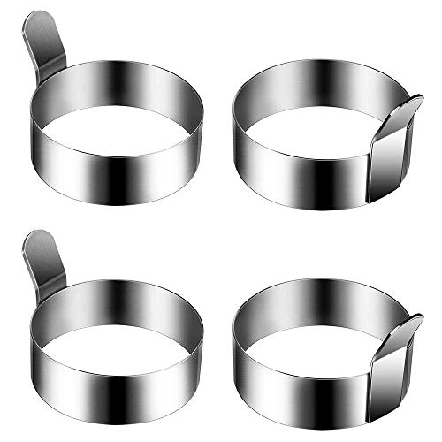 XHCP 4 Pieces 3.5 inchStainless Steel Round Pancake Ring Ring, Non-Stick Omelette, Pancake Making, Breakfast Sandwich Pan
