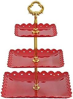 MCE Fruit kommen fruit mand cake stand 3 tier fruit kom aanrecht metalen fruit mand fruit rekken vintage stijl (Color : Bl...