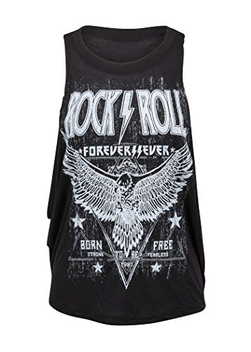 Womens Black Rock'n'Roll Forever Loose Fit Tank Top Muscle Tee – Size Small
