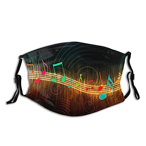 MusicalNotes Breathable Cloth Face Mask Scarf Reused Washable for Men Women with 2 Filters